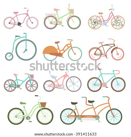 vintage retro bicycle set and