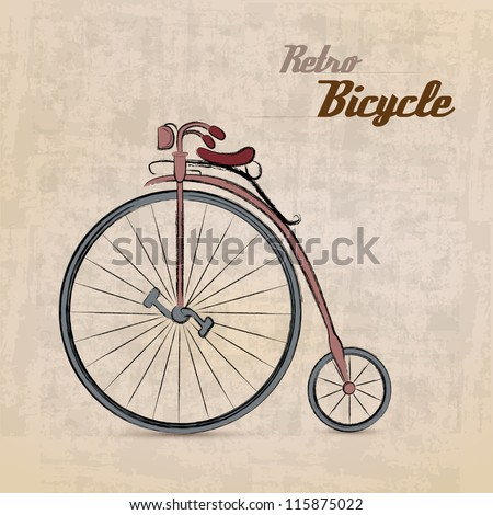 Vintage Retro Bicycle/with hand drawn design   EPS10 Compatibility Required