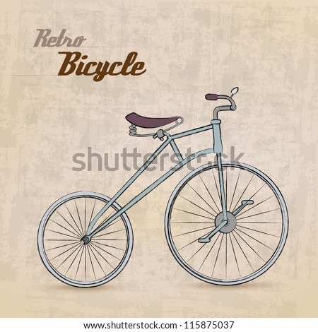 Vintage Retro Bicycle /with hand drawn design | EPS10 Compatibility Required