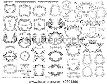 Vintage retro black frames - stock vector