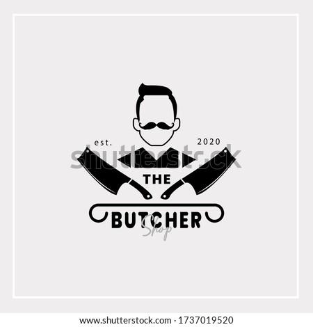 Vintage Retro Butcher shop label logo design with cleavers, Vector illustration. Stockfoto ©