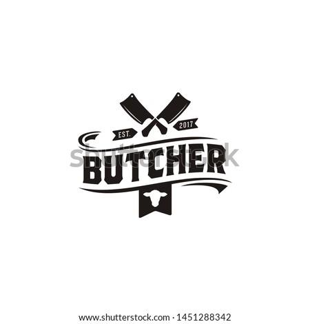 Vintage Retro Butcher shop label logo design with crossed cleavers Stock photo ©