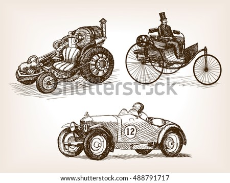 vintage retro cars set sketch...