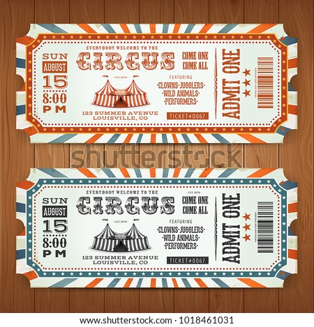 Vintage Retro Circus Tickets/ Illustration of two circus tickets, with big top, admit one coupon mention, bar code and text elements for arts festival events, on wood tiles background