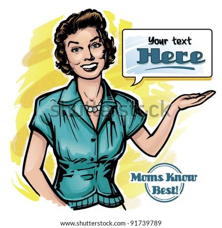 Vintage Retro Clip Art Woman Advertisement 1