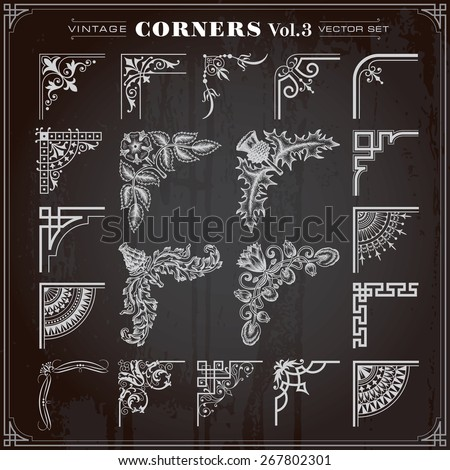 Vintage Retro Design Elements Corners And Borders Set 3 Vector