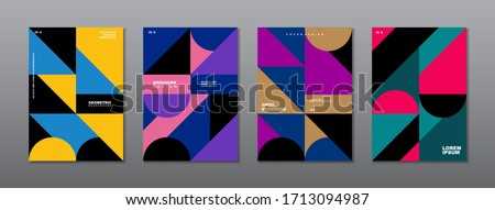 Vintage retro design vector covers set. Swiss style colorful geometric compositions for book covers, posters, flyers, magazines, business annual reports