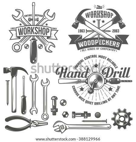 Vintage, retro emblem repair workshop and tool shop. Working tools. Text on a separate layer - easy to replace.