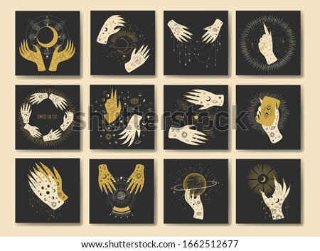 Vintage retro engraving style magic hand silhouette. spiritualistic session, witch's palm, cult of space and magic. Vector graphics Stock photo ©