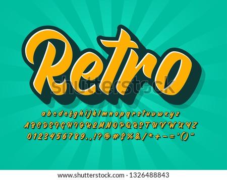 vintage retro font, brush script typeface, 3d extrude text effect, old retro logotype, poster headline design