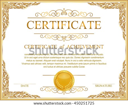 Vintage retro frame certificate background design template, gold detailed certificate, Gold photo frame with corner thailand line floral for picture,