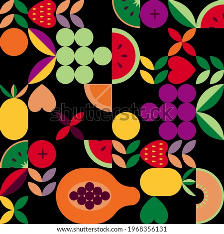 Vintage retro fruit vector seamless pattern. Abstract geometric shape ornament with leaves, fruits and berries. Modern stylish background for home and textile print, tile, wallpaper and wrapping