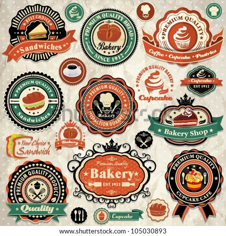 Vintage retro grunge bakery, cupcake, sandwich labels, badges and icons