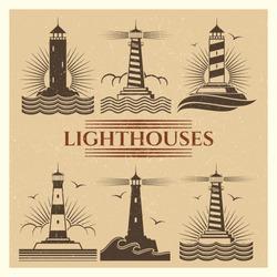 Vintage retro grunge lighthouses logos and label vector set illustration