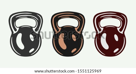 Vintage retro gym fittness equipment. old kettlebells. Can be used for logo emblem badge design. Or for clothes design, patch, apparel.  Monochrome Graphic Art. Vector Illustration.
