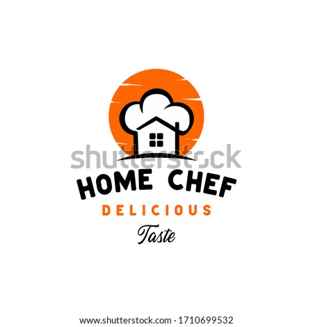 Vintage retro Home Chef logo design vector from creative combination of a house and a chef's hat,  good logo for catering, restaurant, home cooking, home industry etc.