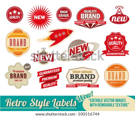 Vintage retro labels and tags. Editable vector images with removable texture.