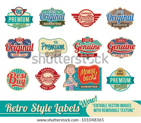 Vintage retro labels and tags - editable vector images with removable texture - stock vector
