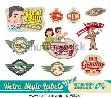 vintage retro labels   editable