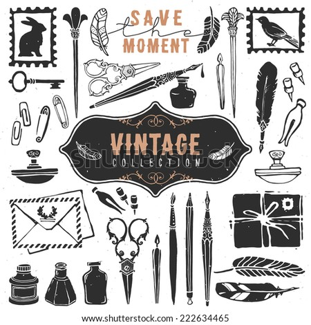 Vintage retro old things writer crafted collection. Hand drawn vector illustrations. Vol.1