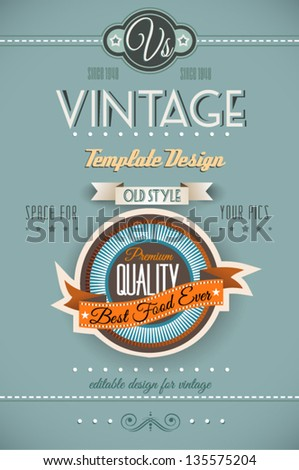 Vintage retro page template for a variety of purposes website home page old style flyers book covers or vintage posters