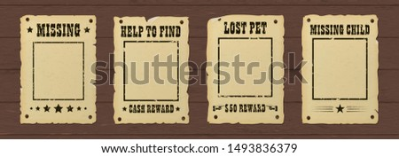Vintage retro ripped missing poster. Wild west bounty brochure nailed to a wooden wall