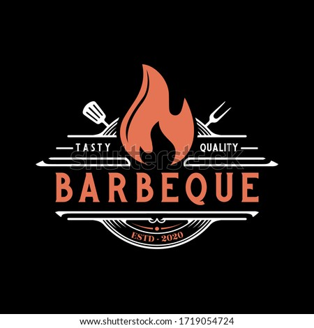 Vintage Retro Rustic BBQ Grill, Barbecue, Barbeque Label Stamp Logo design vector