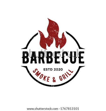 Vintage Retro Rustic BBQ Grill, Barbecue, Barbeque Label Stamp Logo design vector Stock photo ©
