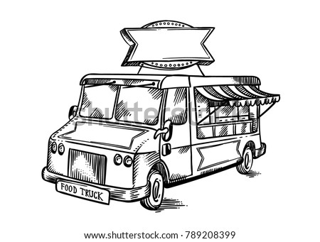 Vintage retro street food truck with blank company sign. Hand drawn line art vector illustration