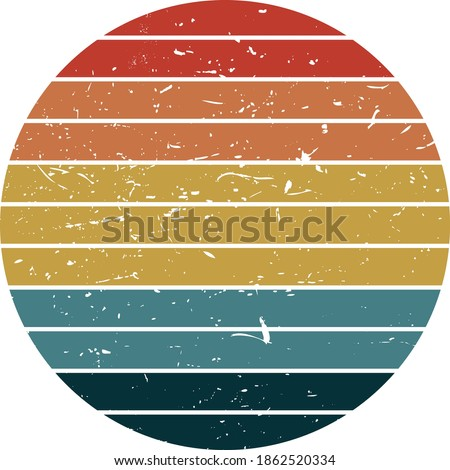 vintage retro striped sunset graphics. you can edit and use in your projects (t-shirt,POD,book cover…). Stockfoto ©
