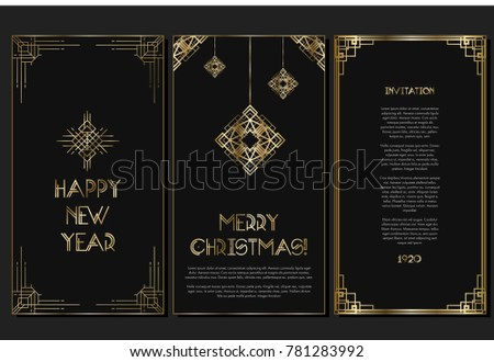 Vintage retro style invitation for New Year in Art Deco. Art deco border and frame. Creative template in style of 1920s. Vector illustration. EPS 10
