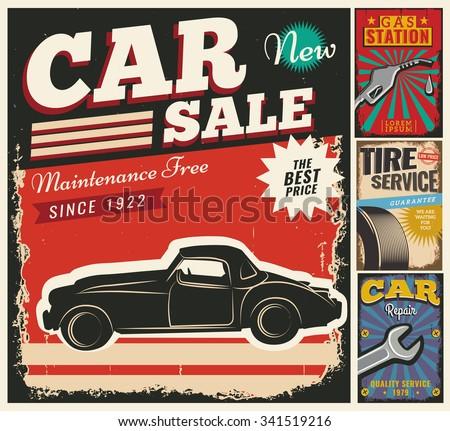 set of vector cars flyer template garage tire service