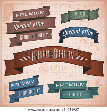 Vintage retro styled ribbons set. Vector design elements.