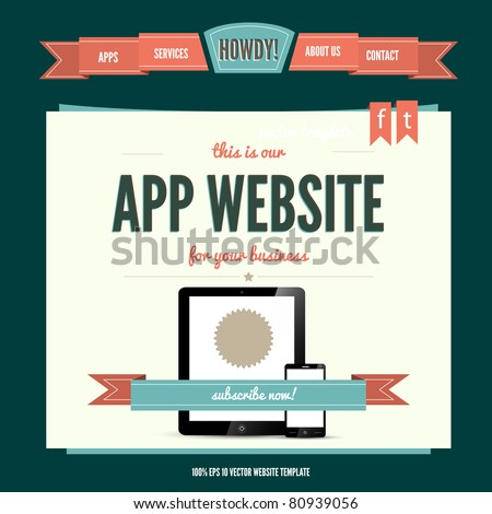 Vintage-retro styled  vector eps10 website template - stock vector