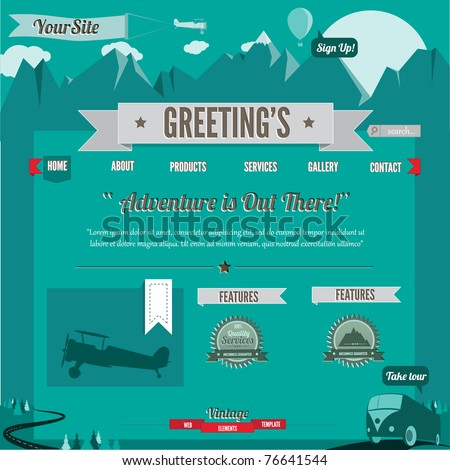 Vintage-Retro styled website template, 100% vector elements