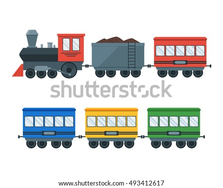 Vintage Retro Transportation Train. Locomotive with Wagons Set. Flat Design Style. Vector illustration if Cartoon Toy Train With Colorful Blocks. Cargo Railway