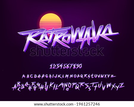 Vintage Retrowave sign with type font and numbers vector template. Set of Retro Neon chrome style letters collection for print tee and poster design. Type font collection