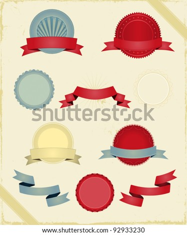 Vintage Ribbons And Banners Series/ Illustration of a series of design grunge vintage ribbons, banners, labels, shields  and seal stamper