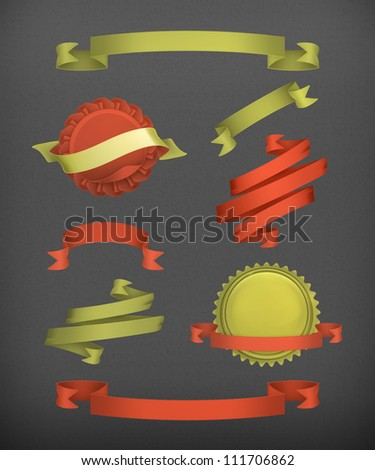 Vintage ribbons and labels vector