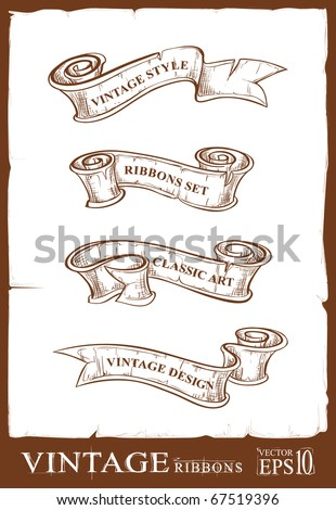 Vintage ribbons set. Banners for your design. Dirty old school hand drawn illustration. Layered. Vector EPS 10 illustration.