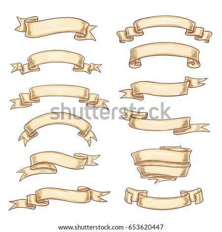 Vintage ribbons. Vector old retro paper scrolls or manuscript banners wit blank copy space. Symbols of ancient heraldic flags or vntage crests for heraldry design element of shield or coat of arms