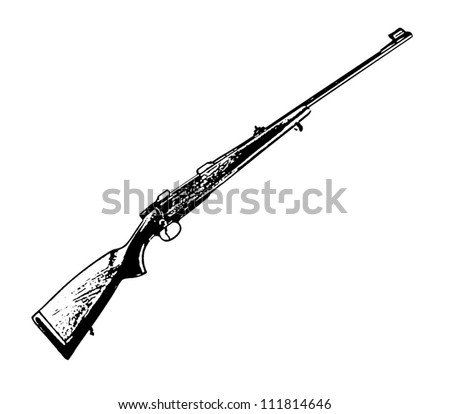 Vintage rifle vector isolated on white background - vector illustration image