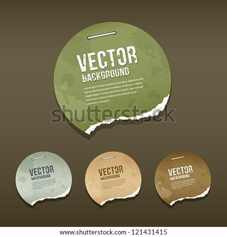 Vintage Ripped label circle paper design background, vector illustration