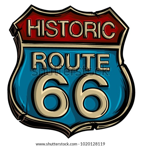 vintage road sign route 66...