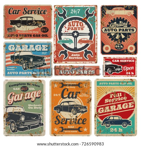 Vintage road vehicle repair service, garage and car mechanic advertising vector metal signs. Garage repair service old banner illustration