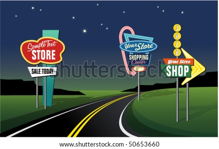 vintage roadside signs set 2