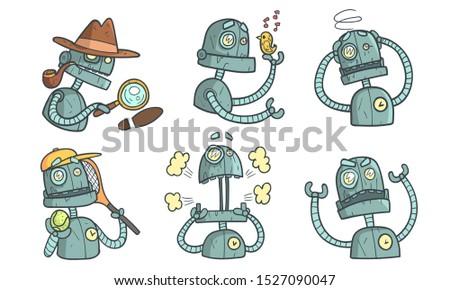 vintage robot character set