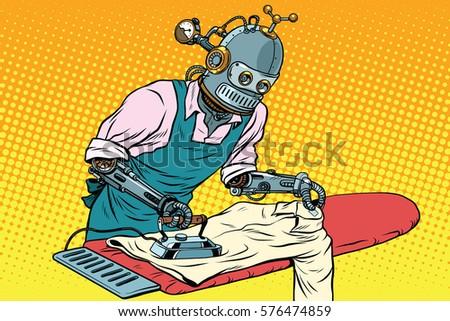 vintage robot employee ironed
