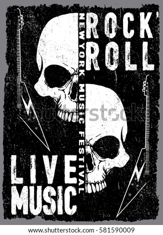 Stock Photo vintage rock and roll typographic for t-shirt; tee design; poster; vector illustration