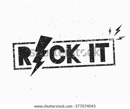 Vintage Rock Label. Rock It. Vector illustration with lightning. Template for your t-shirt, flyer, poster, banner, disc cover, cafe or some art works.